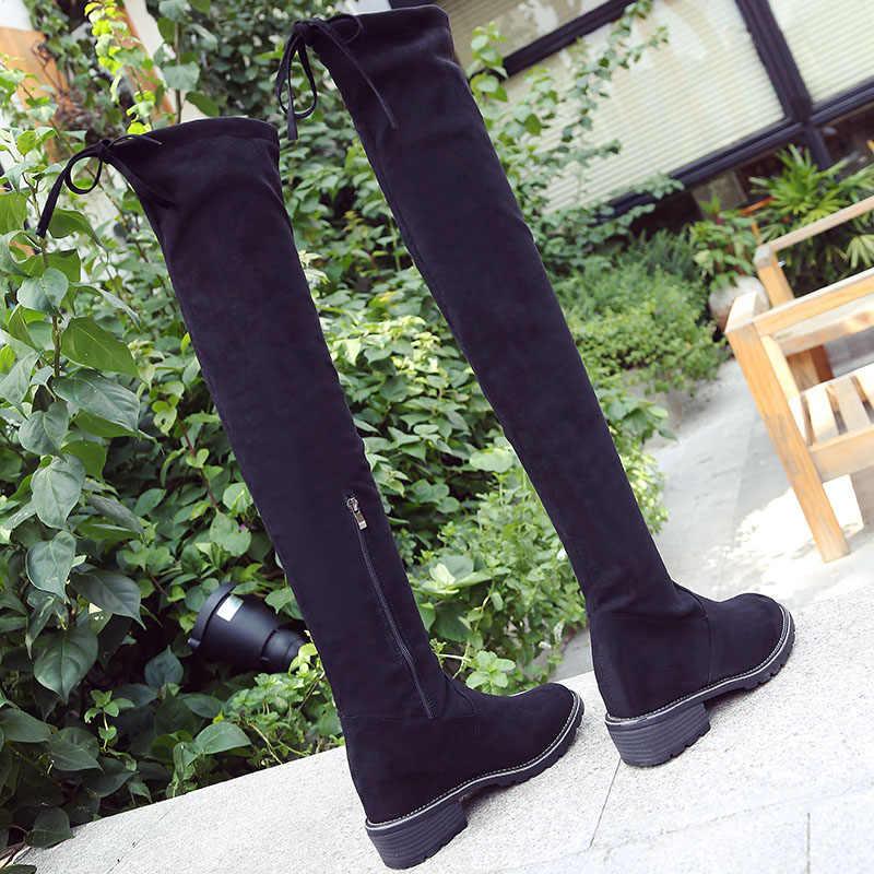 2020 ใหม่เข่าสวยซิปผู้หญิงฤดูหนาว Elegant กลับ Lace Up รองเท้าผู้หญิงรองเท้าส้นสูงหญิงยี่ห้อ BOOT สำหรับชุด