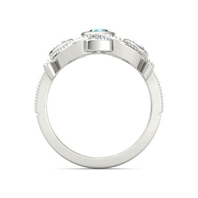 FDLK     Elegant Ladies Fashion Zinc Alloy Ring Round Blue Crystal Inlaid Bridal Wedding Jewelry