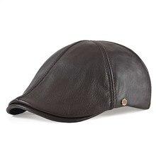 VOBOOM Leather Flat Cap Men Fall Winter Cabbies Hat Dark Brown Ivy Caps Soft Smooth Textured Golf Hats 154