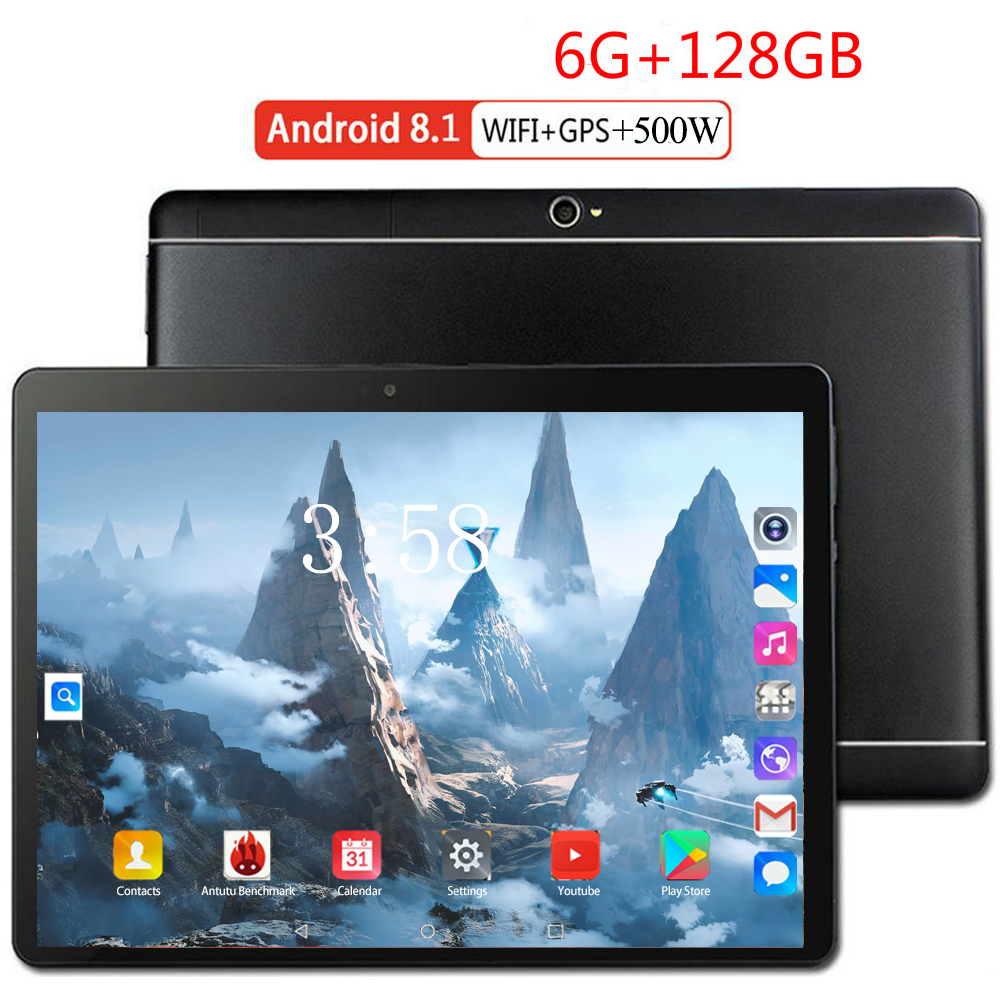 10.1 Inch Tablet PC Octa Core 6GB RAM 128GB ROM Android 8.0 WiFi Bluetooth GPS Phone Call 3G 4G FDD LTE  Kids Tablets