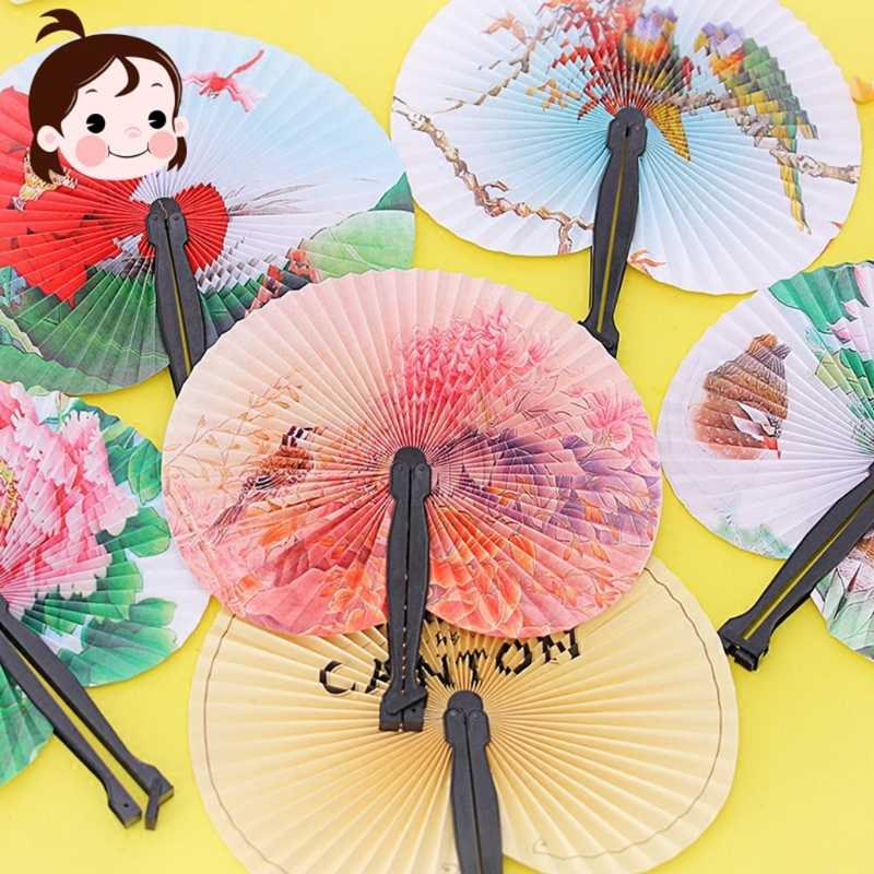 Summer Kids Child Girl Chinese Fan Folding Small Round Paper Hand Fans Pip JB