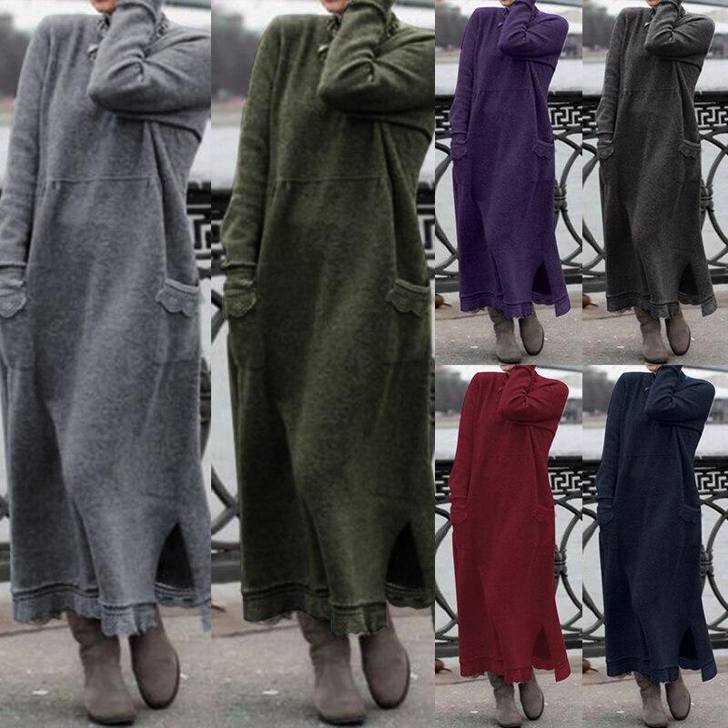 Элегантное кружевное платье-свитер, женское осеннее платье, сарафан, ZANZEA 2019, повседневное макси платье, женские одноцветные толстовки размера плюс