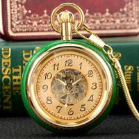 LUXURY RELOJ SUPERB JADE GOLDEN AUTOMATIC MECHANICAL POCKET WATCH SELF WINDING CLOCK SKELETON DIAL FOB CLOCKS WITH SNAKE CHAIN