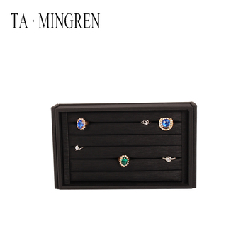 Hot selling leather jewelry tray pu ring storage tray, acrylic cover advanced can be customized