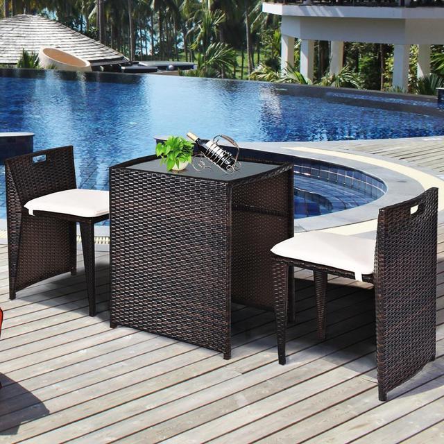 3PCS Outdoor Patio Rattan Furniture Set  4
