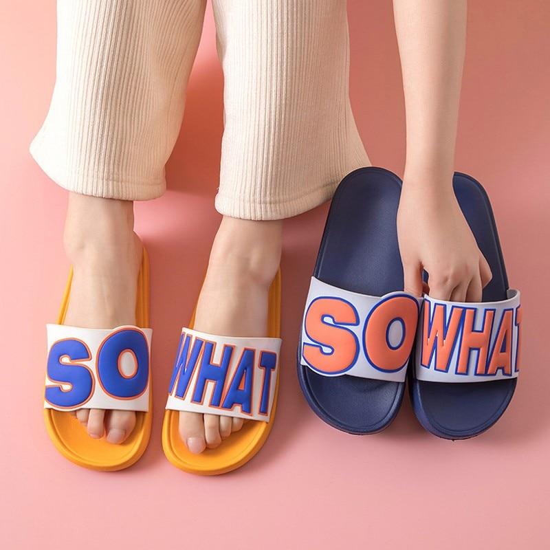 Women Men Slippers Summer Beach Slides Cartoon House Outdoor Thick Sole Sandals Boys Girls Ladies Bathroom Shoes Flip Flops