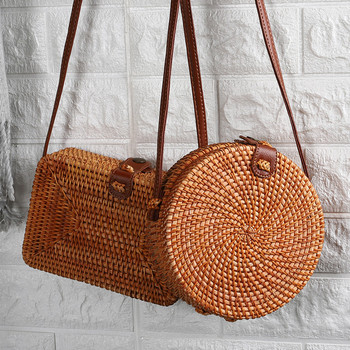 2020 Women Bag Popular All-match Rattan Bag Hand-Woven Bag Shoulder Beach Chinese-Style Messenger Bag dcos ins new ladies hand woven bag round rattan retro literary hand woven leather buckle package bohemia beach messenger bag