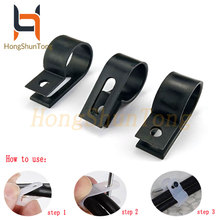 Black R-Type Nylon 5.3/6.4/8.4/10.4/13.2/16/19/23mm Cable Clamp Clear Clips