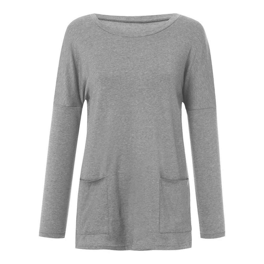 Womens Solid Warm Long Sleeve Sweatshirt Loose Pocket Daily Pullover Tops #4O08 (9)