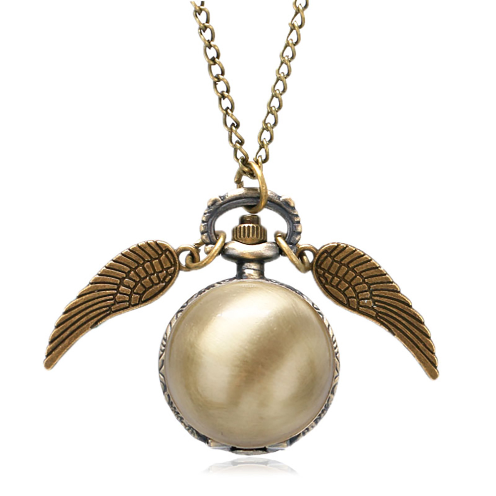 Antique Quartz Small Pocket Watch Men Women Pendant Watches With Necklace Chain Clock Hours Steampunk Unisex Unique Wing Gifts