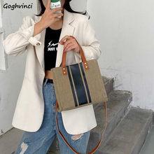 Cartelle donna stile coreano tela a righe elegante Office Lady alta qualità grande Tote Book Bag borse per il tempo libero semplice donna
