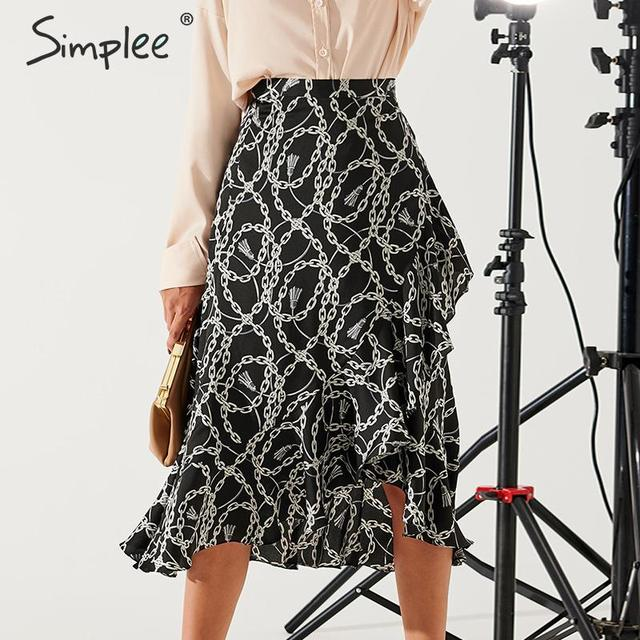 Simplee Fashion chain print women midi skirt Elegant lace up mid waist female wrap skirt Spring summer chic ladies skirts bottom 5
