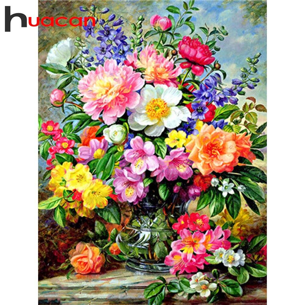 Huacan алмазная вышивка распродажа полная выкладка 5д алмазная мазайка вазы цветы картина стразами рукоделие