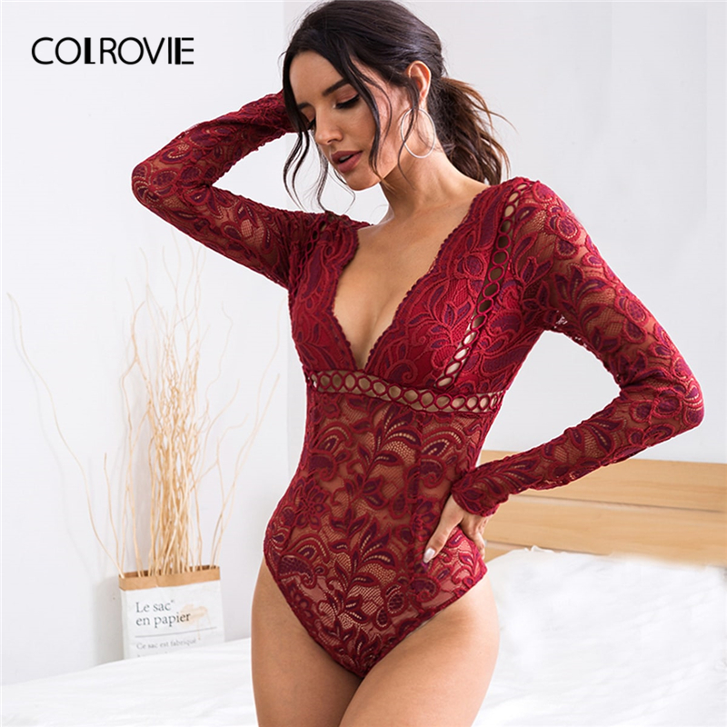 COLROVIE Burgundy Plunging V-cut Back Sheer Lace Bodysuit Women Skinny Bodysuit 2019 Fall High Waist Glamorous Sexy Bodysuits