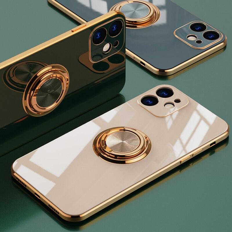 Luxury Plating Ring Holder Phone Case For iPhone 12 Pro Max Case For iPhone 11 Pro XS Max X XR 7 8 Plus SE 2020 12Mini Cases 1