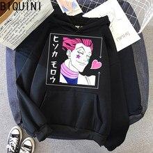 HISOKA MOROW – sweat-shirt à capuche pour femme, ample, blanc, surdimensionné, manches longues, lettre, Harajuku Kawaii, hiver, manteau à capuche