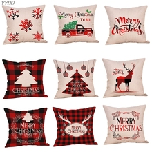 YYDD Рождественская Подушка Чехол Рождество Buffalo Plaid дом Декор льняная подушка чехол s для дивана, подушка, Cover18 X 18 дюймов