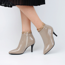 Plus Size 34-48 Women Spring Autumn Stiletto Thin High Heels Pointed Toe Patent Leather Zipper Style Sexy Ankle Women Boots Bota moraima snc spring autumn sexy women long boots cowboy vamp fringe side zipper pointed toe thin high heels riding boots