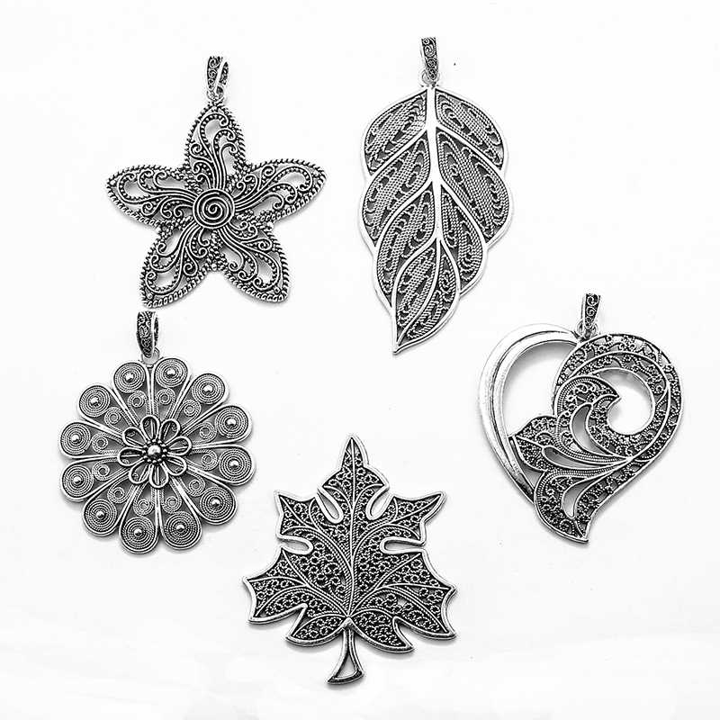 2pcs Antique Silver Large Hollow Filigree Flower Leaf Charms Pendants Fit DIY Necklace Making Findings