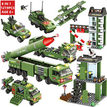 цена на 1219Pcs Military Missile War Tank Technic Building Blocks Sets Army WW2 Weapon Brinquedos Bricks Educational Toys for Children