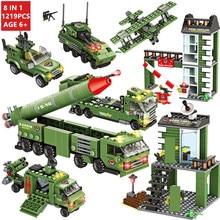 цена на 1219Pcs Military Missile War Tank Technic Building Blocks Sets Army WW2 Weapon LegoINGLs Bricks Educational Toys for Children