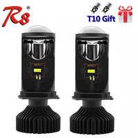 R8 H4 9003 HB2 LED faro Kit lámpara con Mini proyector lente ventilador refrigeración 8000LM automóvil Hi/Lo haz bombilla 12V 6500K blanco Y6D