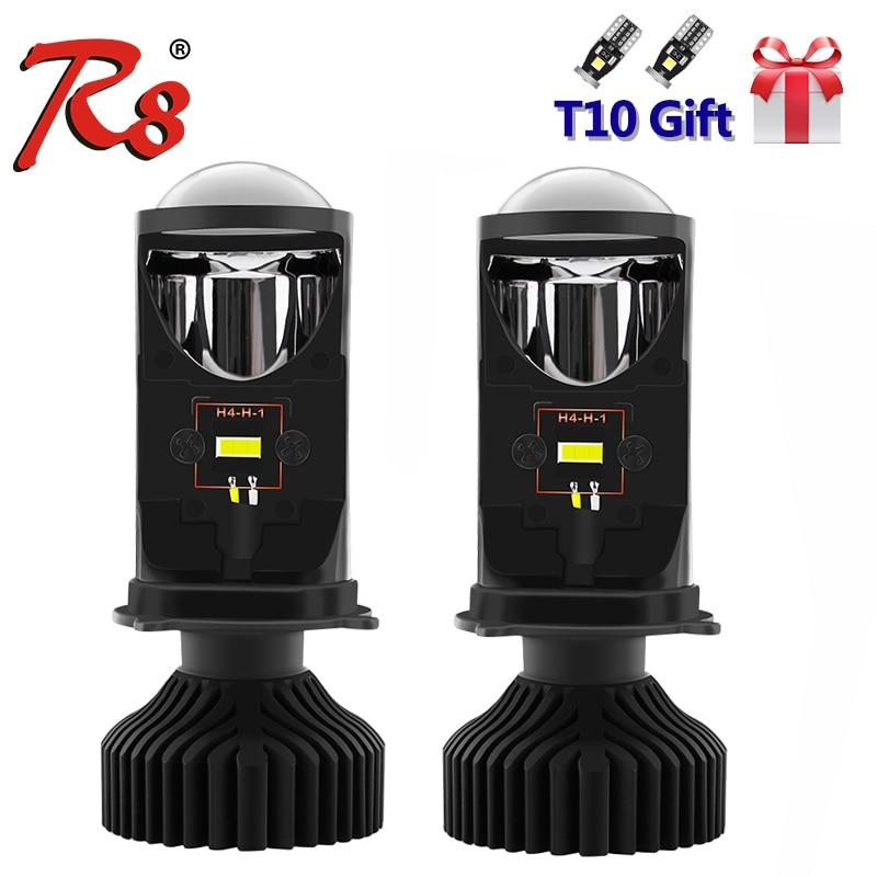 R8 H4 9003 HB2 phare LED Kit lampe avec Mini projecteur lentille ventilateur refroidissement 8000LM Automobile Hi/Lo faisceau ampoule 12V 6500K blanc Y6D