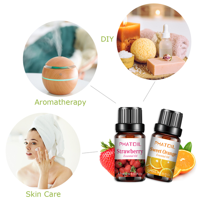 10pcs Fruit Fragrance Essential Oils Gift Set Strawberry Mango Watermelon Passion Fruit Coconut Flavoring Oil for Candle Making 4