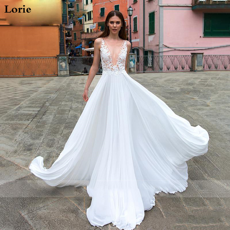LORIE Beach Wedding Dress 2019 V Neck A-Line Chiffon Appliques Lace Princess Bride Dress Arabic Wedding Gown Free Shipping