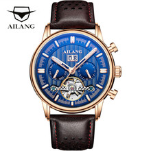AILANG Tourbillon Automatic Mechanical Watch Men Top Brand Luxury Hollow Watches Leather Waterproof Male Clock Relogio Masculino 2017 shenhua gold hollow automatic mechanical watches men luxury brand leather strap casual vintage skeleton watch clock relogio