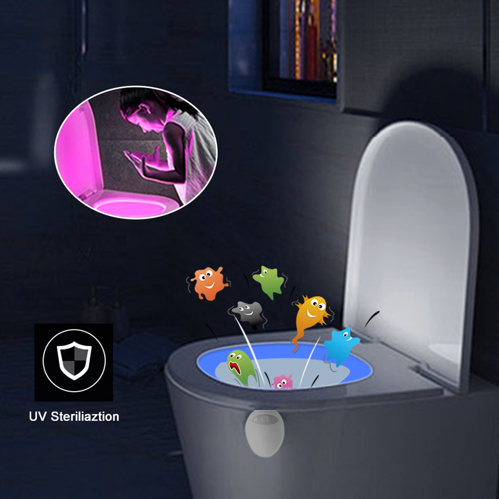 Induction Night Light With UV Sterilizer Germicidal Disinfection UVC LED Lamp LED RGB Purple Light Toilet Night Light