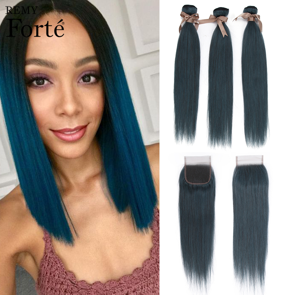 Remy Forte Straight Bundles With Closure 26 Inch 100% Remy Brazilian Hair Weave Bundls Blue Colored 3/4 Bundles With Closure