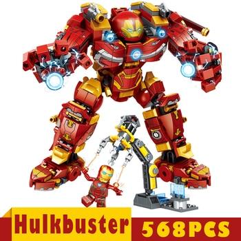 цена на Legoings Avengers Iron man Hulkbuster Building Blocks Super Heroes Marvel Infinity War Legoings Technic Children Kids Toys Gifts