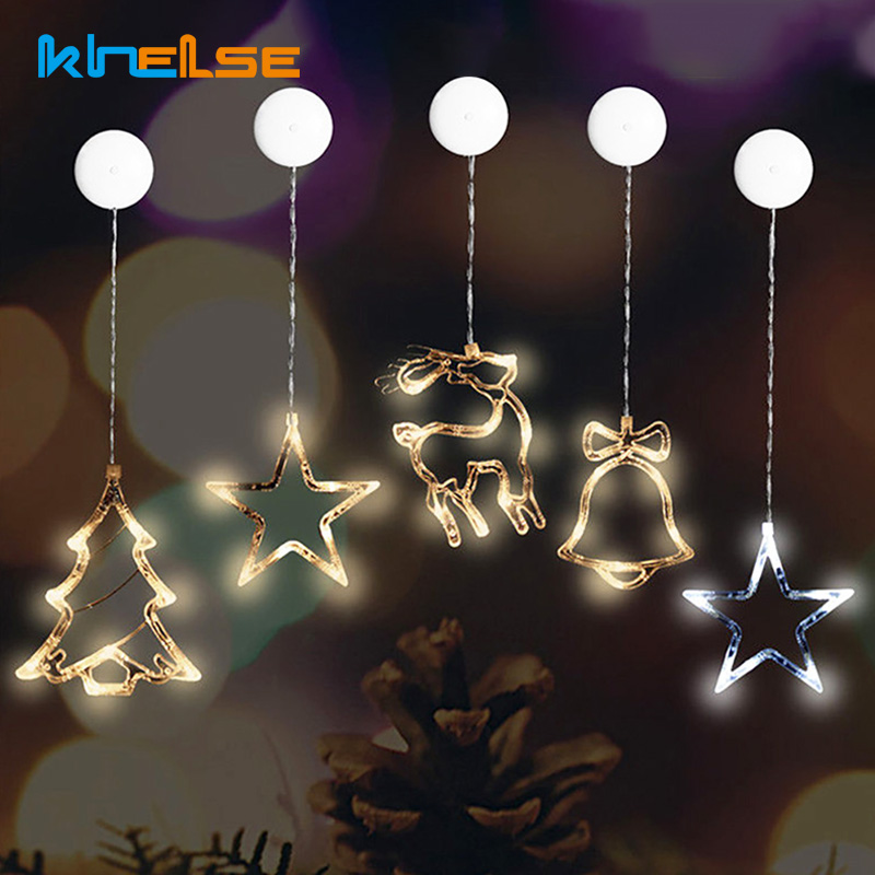 LED Christmas Bell Star Snowman Window Sucker Light New Year's Day Holiday Cute Decorative Lights Battery Powered Holiday Lamp