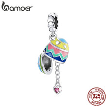 Bamoer-Colgante de Pascua de Plata de Ley 925 con diseño de huevos de la suerte, corazón rosa, Pulsera Original, fabricación de joyas, SCC1753