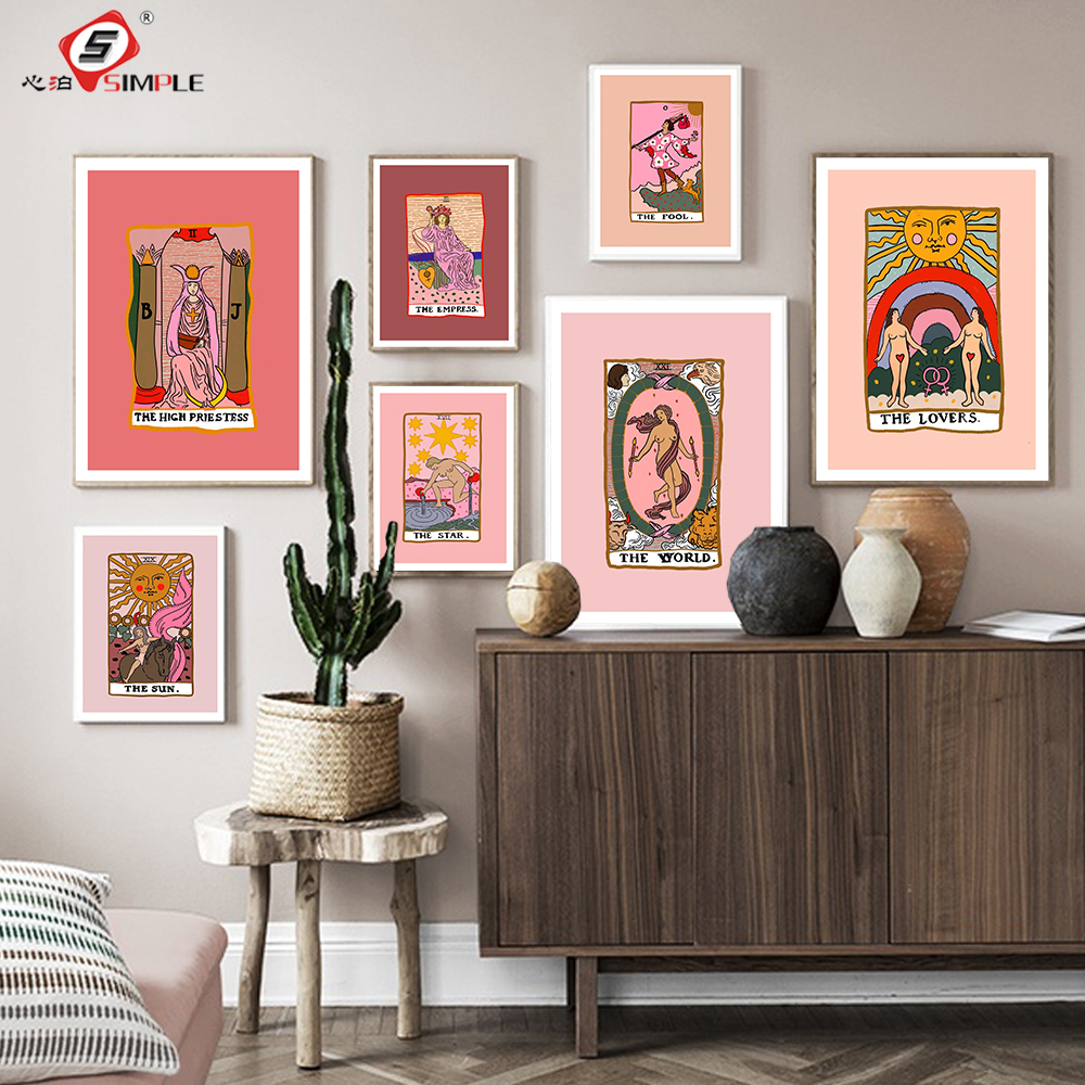 Nordic Abstract The Lovers Tarot Wall Art Pictures Canvas Painting Sun Empress Priestess Posters Prints Living Room Home Decor