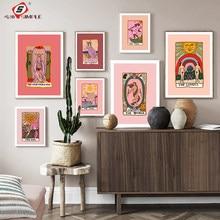 Abstrato nórdico os amantes tarô quadros da arte parede lona pintura sol imperatriz sacerdotisa posters impressões sala de estar decoração casa