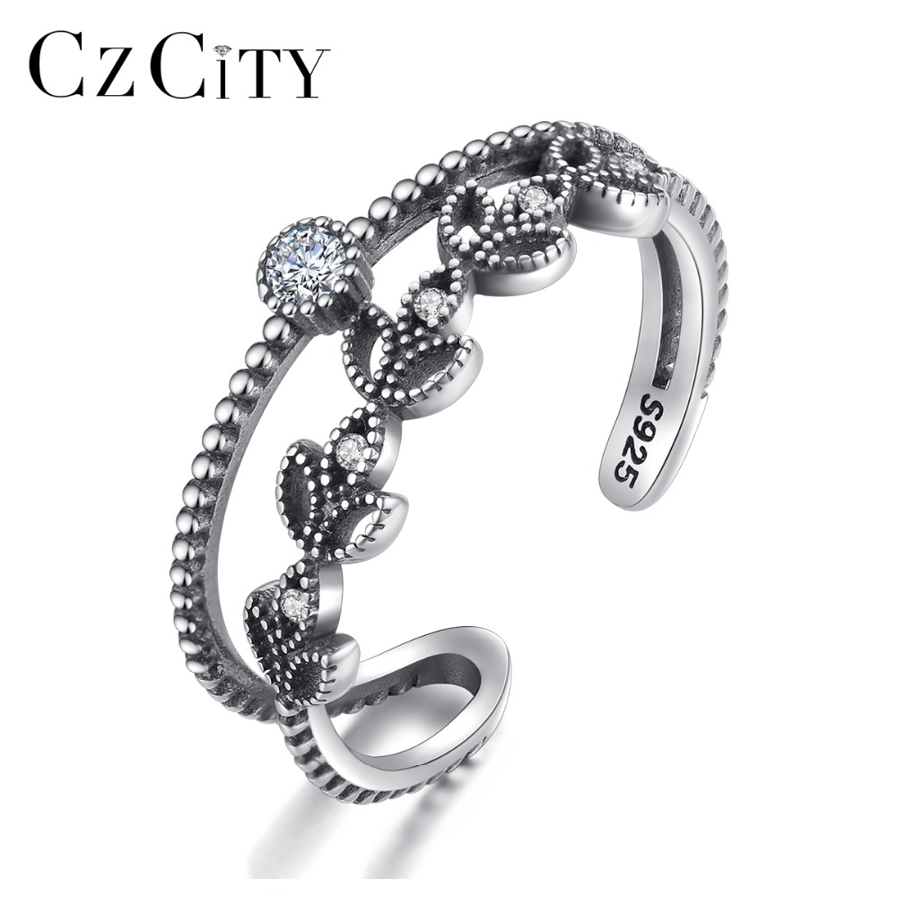 CZCITY Irregular 925 Sterling Silver Female Charming Hollow Design Open Rings Carving S925 Ethnic Fashion Fine Jewelry Wholesale