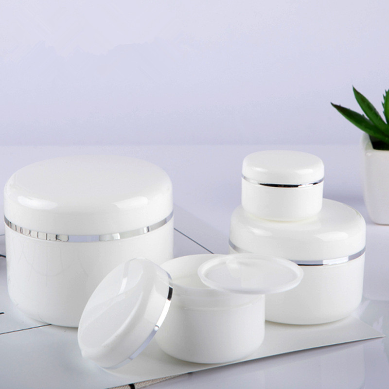 3PCS Refillable Bottles Plastic Empty Makeup Jar Pot Travel Face Cream/Lotion/Cosmetic Container 20/30/50/100ML White Color