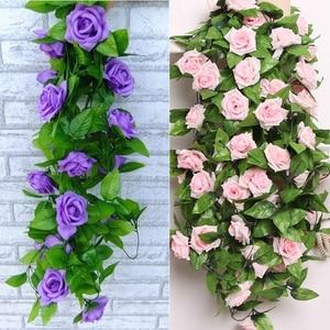 2.4M Artificial Rose Flower Vine Silk Artificial Leaf Wedding Plants Fake Foliage Plastic Dried Flowers Garden Party Home Decor
