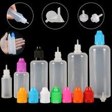 10pcs 3/5/10/15/20/30/50/100/120 ml Empty LDPE Plastic E Liquid Juice Dropper Eye Squeezable Bottles Long Tip Cap Vape Container