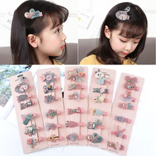 New 6Pcs/set Sweet Girls Hair Clips Safe Baby Princess Headdress Kids Children Cute Cartoon Accessories Barrettes