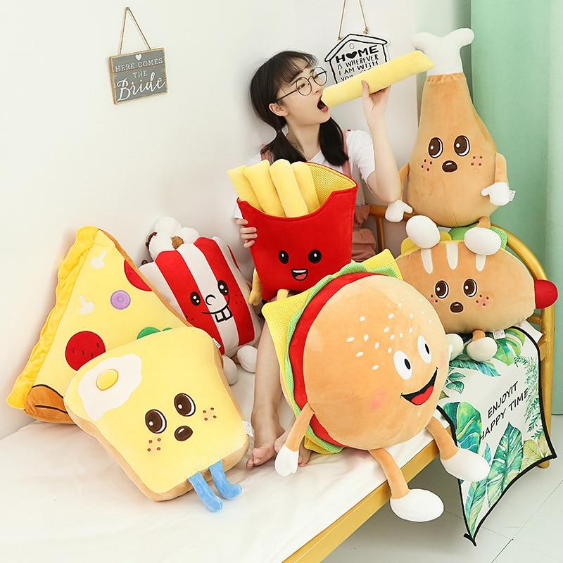 Cute Cartoon Plush Hamburger French Fries Chicken Leg Toy Stuffed Food Popcorn Pizza Pillow Cushion Kids Toys Birthday Gift