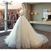 SERMENT 2019 Princess White Dream Wedding Dress Off Shoulder Sweetheart Applique Lace Ball Gown Bridal Trailing Yarn