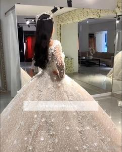 Image 3 - Luxury Beads Ball Gown Wedding Dresses V Neck Sequins Beadings Floral Appliques Long Sleeve Bridal Gown robe de mariee