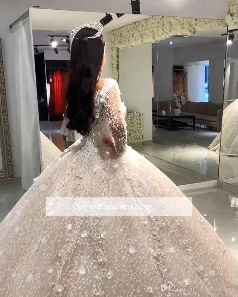 יוקרה חרוזים כדור שמלת חתונת שמלות V צוואר פאייטים Beadings פרחוני אפליקציות ארוך שרוול כלה שמלת robe דה mariee