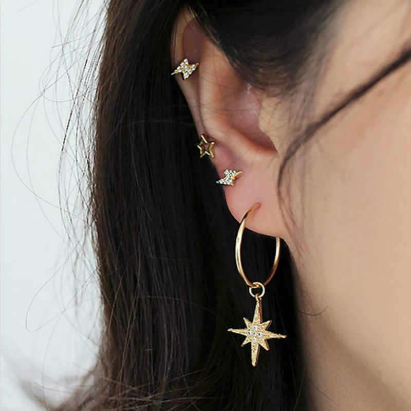 1 conjunto venda feminino borlas círculo metal boêmio clipe earringss para mulher personalidade terno jóias presente