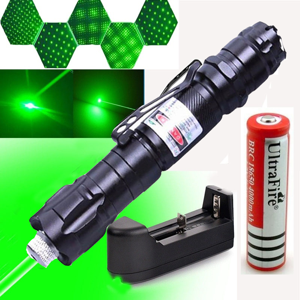 Green Laser Pointer Powerful 303 Pointer 10000m 5mW Hang-type Outdoor Long Distance Laser Sight Starry Head Burning Match