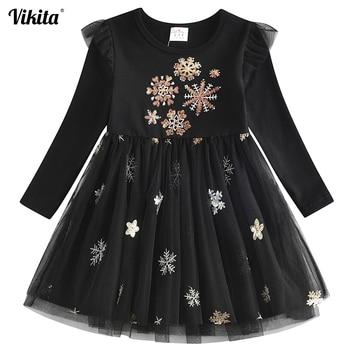 Kids Dresses for Girls Long Sleeve Girls Snowflake Sequins Dress New Year Costume Princess Dress Kids Christmas Clothes Vestidos