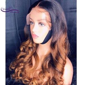 Image 2 - Dream  Beauty 13x6 deep part Lace Front Wigs Remy Brazilian hair  Body Wave Human Hair Ombre Color Wigs Bleached Knots